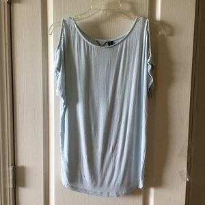 BKE soft blue rayon stretch top size small